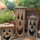 Wood  lantern made with rustic worn wood Jack-O-Lantern for | Etsy