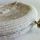 Vintage White Beaded Clutch Purse - Made In Korea - Weddings and Bridal