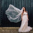 David's Bridal bride in a strapless blush pink wedding dress by Melissa Sweet   Simon Brettel Photography