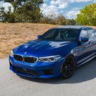 Download wallpapers BMW M5, F90, 2018, sports sedan, new blue M5, tuning, black wheels, German cars, exterior, BMW besthqwallpapers.com