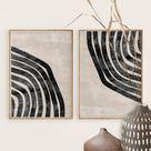 Neutraler geometrischer Wandkunstdruck, Mid Century Modern Art, Abstrakte Kunst, Digitaler Download, Abstraktes Schwarz Beige Minimal Art, Dicke Linie Kunst