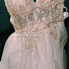 SP1020,Sexy Crystal Champagne Prom Dresses,Beaded V-Neck Evening Prom Dresses,Long Party Dress with Slit