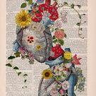 Doctor gift Flowery Hearts in love  human Anatomy art dictionary page , love wall art, human anatomy, science & anatomy art SKA121
