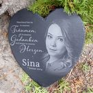 Slate heart slate slate tombstone with personal photo - approx. 23 x 26 cm or approx. 16 x 16 cm engraving grave ornament grave mourning