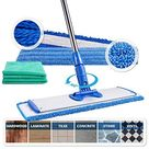 18 Professional Microfiber Mop | Adjustable Stainless Steel Handle | 3 Premium Mop Pads + 2 Free Microfiber Cloths - 1 - 5 Business Days Shipping