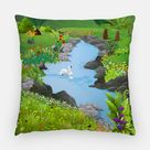 Swan Lake Outdoor Pillow - 16x16 Inch