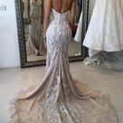 Cute Mermaid Ivory Lace Appliques Sweetheart Strapless Wedding Dresses with Sequins W1012   US16 / White