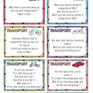 Conversation Starter Cards   Transportation   Speaking skills practice   For teens