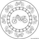 Motorrad - Mandala Malvorlage für Kinder