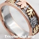 Tricolor Oak and Maple Leaf Wedding Band.