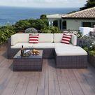 Latitude Run® Patio Furniture 5 Piece Sets, PE Wicker Outdoor Couch Sectional Patio Set, Small Patio Conversation Set Garden Patio Sofa Set W/Ottoman | Wayfair Canada