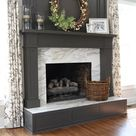Peppercorn painted fireplace built ins