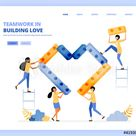 cooperate with each other in building hearts, teamwork and relationships. vector illustration concept can be use for, landing page, template, ui ux, web, mobile app, poster ads, banner, website, flyer Stock Vector