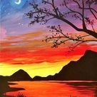 40 Easy Landscape Painting Ideas for Beginners, Easy Acrylic Painting Ideas, Easy Tree Painting Ideas, Simple Abstract Painting Ideas, Sunrise Painting, Easy Canvas Painting Ideas