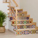 Floor Tile Stickers Vinyl Decal WATERPROOF REMOVABLE for kitchen bath M027Black