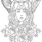 Wolf woman - Zen and Anti stress Coloring Pages for Adults - Just Color