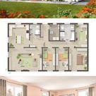 Bungalow massiv mit Walmdach & Putz Fassade bauen, Haus Ideen modern mit 5 Zimmer Grundriss