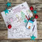 Kid's Coloring Placemats for Christmas - Lia Griffith