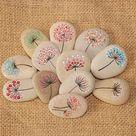 Painted Stone, Dandelion - Pebbles with Nature Designs, floral motifs rock, flowers, plants, home decor, meditation mandala stones, dot art