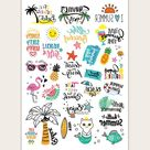 Pineapple & Beach Pattern Tattoo Sticker 1sheet