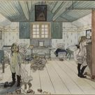 Carl Larsson - Mamma's and the Small GirlsRoom. From A Home (26 watercolours) - fine art print - Canvas print / 70x50cm - 28x20