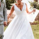Plus Size Ball Gown Wedding Dresses Garden V Neck Lace Bridal Gowns
