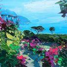 Ravello Painting on Canvas, Original Painting, Amalfi Coast Painting, Italy Seascape Art, Garden Painting, Bedroom Wall Art, Small Art, Gift