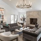 Restoration Hardware style inspired grey living room decor with modern chesterfield sofa