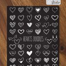 Hearts Outline Drawing   White Hand Drawn Valentine Doodles   Scribble Heart Clip Art   Png Eps Pdf Svg