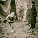 Vintage photo circus clown print poster running escaping tent weird strange unusual unique gift old picture crazy unique odd art wall decor