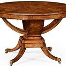 $3395 Biedermeier style crotch walnut center table.