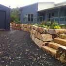 RANDOM SANDSTONE RETAINING WALL. Retaining Walls Brisbane area. - Cornerstone Boulder Walls