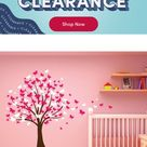 Innovative Stencils Butterfly Cherry Blossom Tree Baby Nursery Wall Decal, Vinyl in Pink/White, Size 72