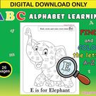 ABC Alphabet Learning Coloring Pages Printable / Find & Color | Etsy