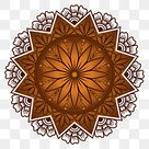 Coffee Color Mandala Vector Greeting Card Background Illustration With Hand Drawn Ornament On A Brown Circle, Illustration, Zentangle, Medallion PNG and Vector with Transparent Background for Free Download