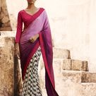 Indian Magenta Grey Off White Satin Jacquard AND Georgette Lovely Casual Saree