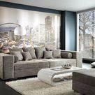 XXL-Sofa Marlen lichtgrijs 300x140 cm gestoffeerde hoek met hocker Bigsofa