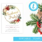 Printable Holiday Party Invitation TEMPLATE / Oh What Fun Christmas Party Invitation Instant Download / Holiday Party Flyer/ LR2045