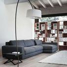 Skandinavischer Stil Bogenleuchte graues Sofa modern-Wohnzimmer Einrichtung Ideen