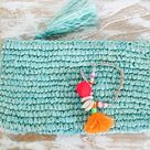 ljc designs CHRISTMAS PACK 2   2016   1 Small Ocean Green Raffia Clutch with 1 Candy Arm Bracelet