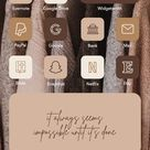 Aesthetic Coffee App Icons for iOS 14, Chocolate Beige App Covers, Cream Neutral iPhone iOS 14 Icons