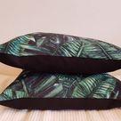Printed Palm Leafs Velvet Pillow Covers Pillowcase 45x45cm Zippered