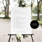 Wedding Order of Events Poster, Modern Wedding Poster Template, Order of Events Sign, 18x24