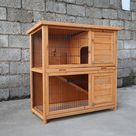 Tucker Murphy Pet™ Outdoor Wooden Rabbit Hutch Pet Cage w/ Run Asphalt Roof Bunny Animal House yellow 17.7 x 36.0 x 31.5 in | Wayfair Canada
