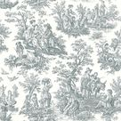 Waverly Country Life Toile Peel and Stick Wallpaper - Sample / Grey