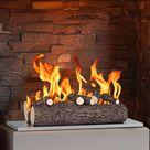 Regal Flame RFA5005 16 in. Ceramic Wood Gas Fireplace Logs, Oak - 5 Piece