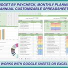 Budget by Paycheck, Monthly budget planner, Budget template excel, Google sheet budget, Annual, Yearly budget spreadsheet, Bill tracker