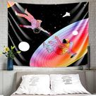 MENTAIQI Vibrant Trippy Sunflower Spaceman Tapestry, Psychedelic Hippie Astronaut Roam at The Sunflower Field Art Wall Hanging Decorations for Room Dorm - Orange / 51.2 × 59.1