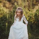 Bohemian girls dress dressLace girls dressMaxi DressWhite   Etsy