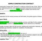 Simple Construction Contract Template, Construction, Handyman, Contract Template, Contractor Templates, Simple Template, Simple Contract